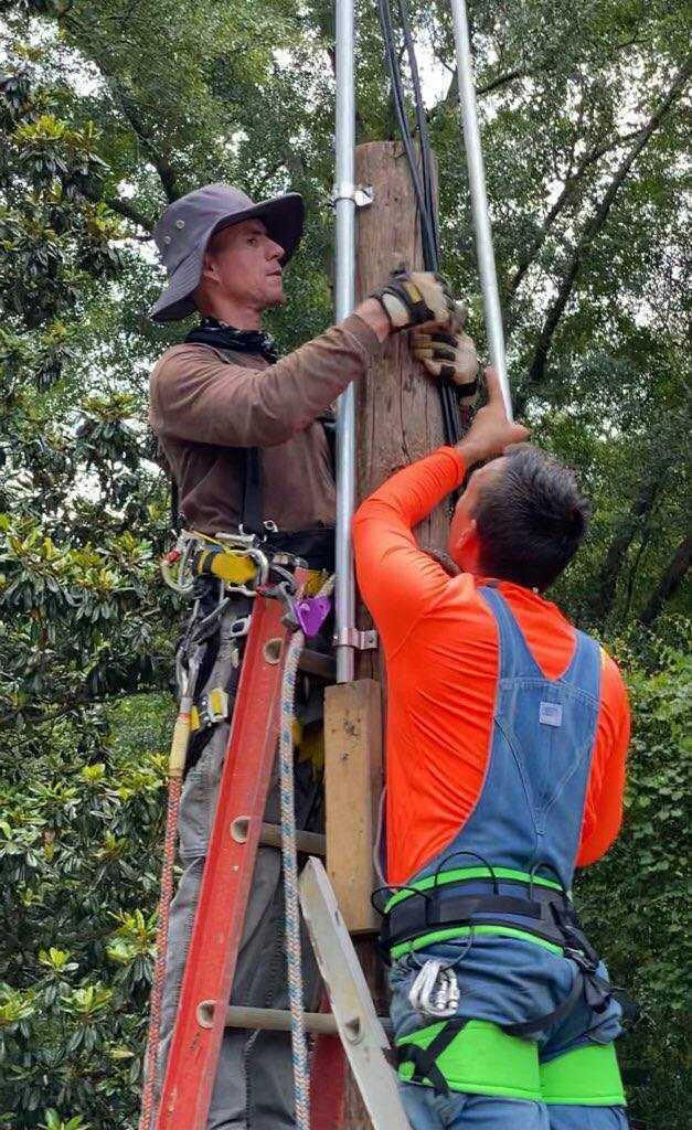 Two men on a ladder installing tower