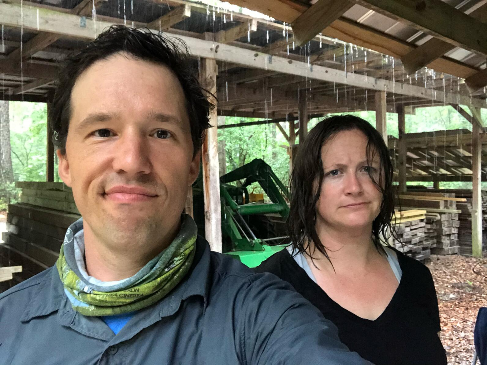 Matt and Jen got drenched in the rain and are not pleased.
